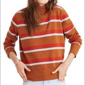 Madewell mockneck turtleneck sweatshirt striped